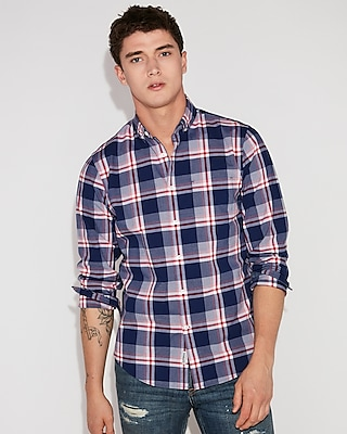 Slim Soft Wash Large Plaid Button Down Shirt by Express