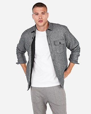 Slim Marled Quilted Button Down Flannel Shirt by Express
