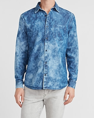 express printed faded denim shirt blue