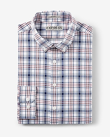 fitted express tech plaid button-down dress shirt