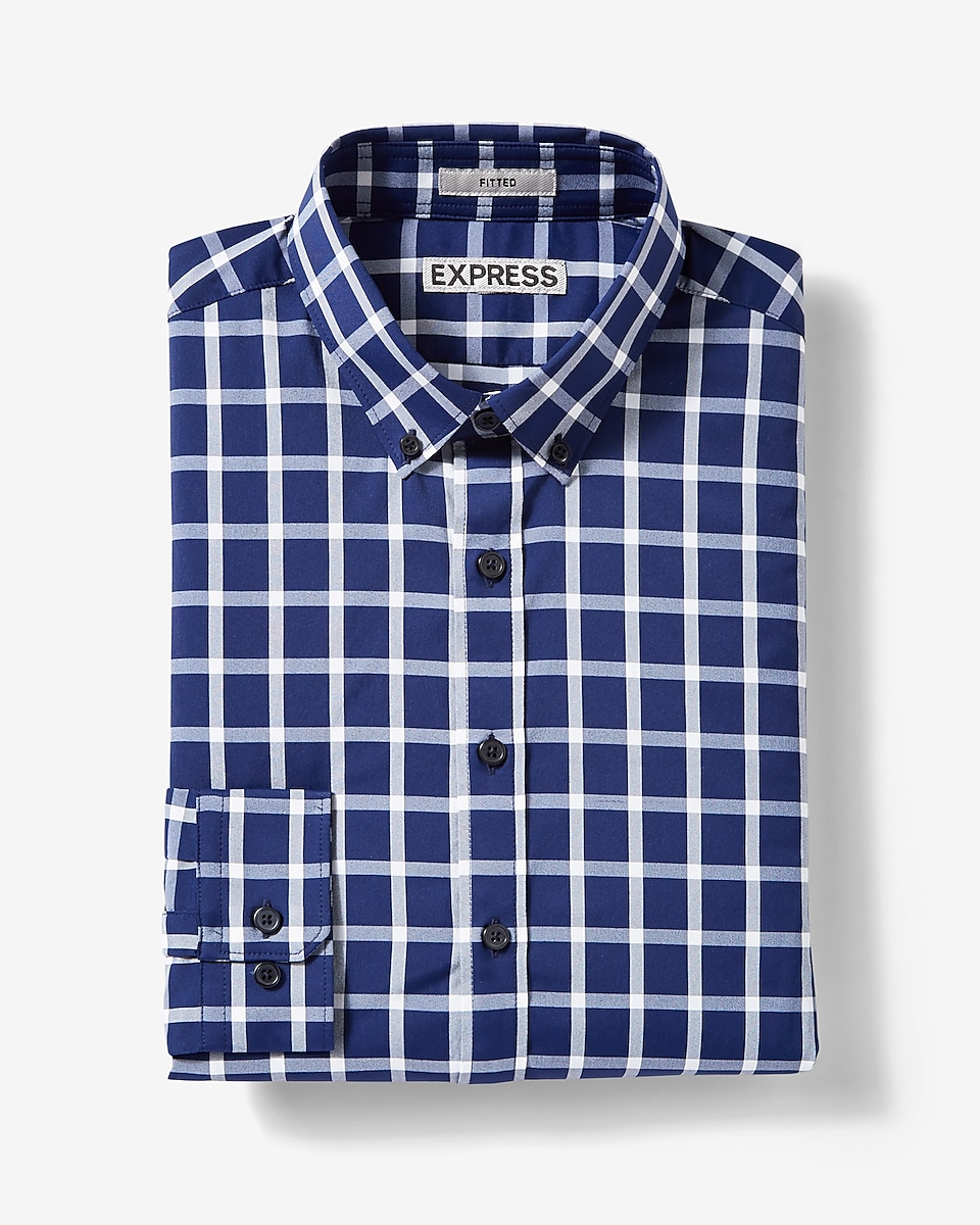 Fitted easy care check button down dress shirt for Dress shirts for athletic build