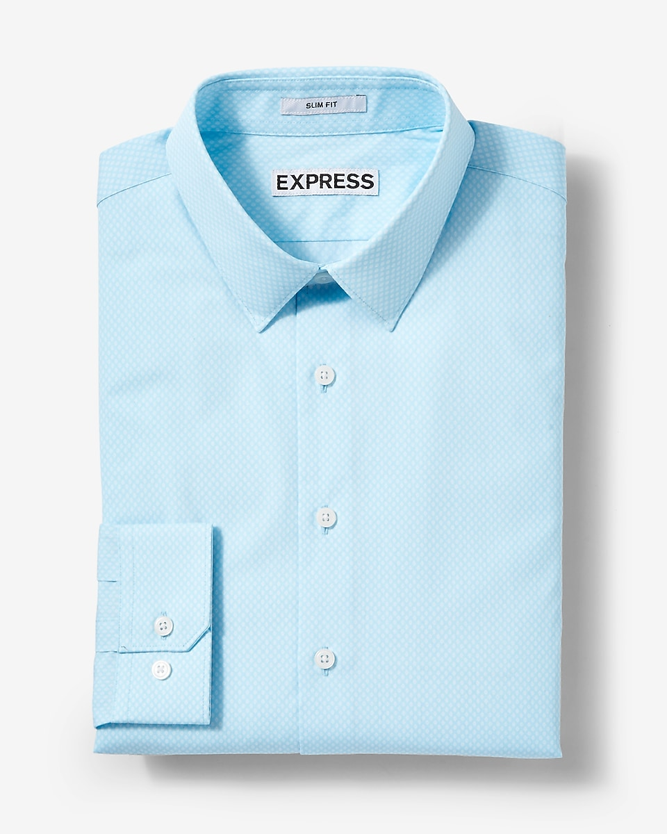 Extra slim fit micro print cotton dress shirt for Extra slim dress shirt