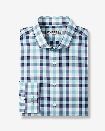 fitted plaid cotton dress shirt