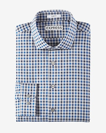 slim fit plaid pattern dress shirt