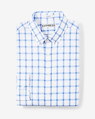 Extra Slim Check Print Performance Dress Shirt by Express