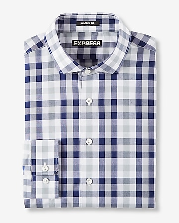 modern fit plaid cotton dress shirt