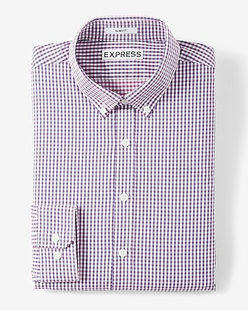 Slim Fit Plaid Performance Dress Shirt | Express