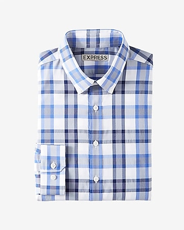 fitted plaid performance button collar shirt