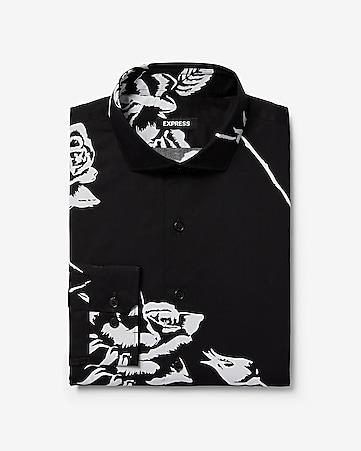 dcd9d6e69a6 Express View · extra slim magnified floral print cotton dress shirt