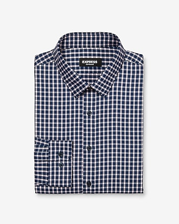 d3ccc5f90d2 Express View · slim plaid wrinkle-resistant performance dress shirt