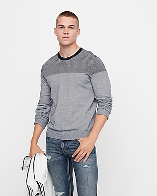 Plaited Crew Neck Cotton Sweater by Express
