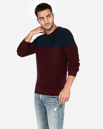 87c3308b8 Express View · color block crew neck sweater