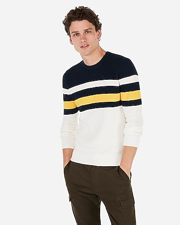 Express View · color block striped crew neck sweater 08a1ce106