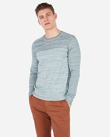 3b1149374b Express View · mixed stripe crew neck sweater