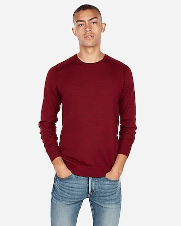 9a538bb5858 Express View · merino wool blend thermal-regulating solid crew neck sweater