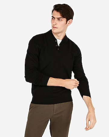 45747df8155 Express View · mock neck baseball henley sweater