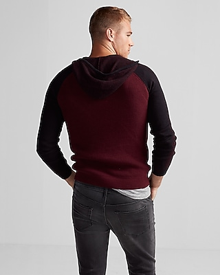 Mixed Stitch Cotton Hooded Sweater | Express