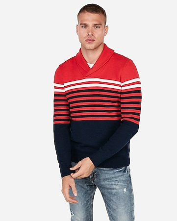 Express View · color block striped shawl collar popover sweater c6b4c90c8