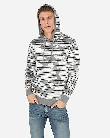 4ec2ff3d564 Express View · striped camo popover hooded sweater