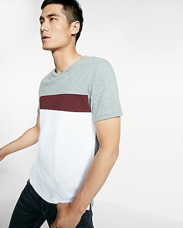 striped chest crew neck tee