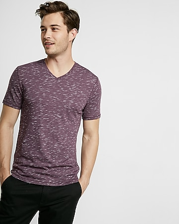 shadow pattern v-neck tee