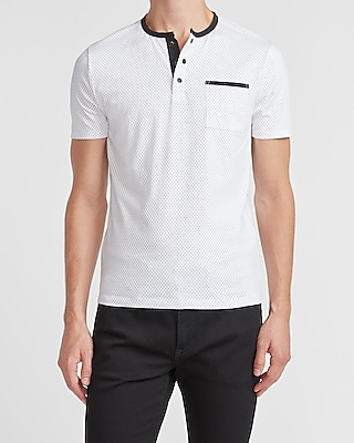 express moisture wicking performance dot henley white