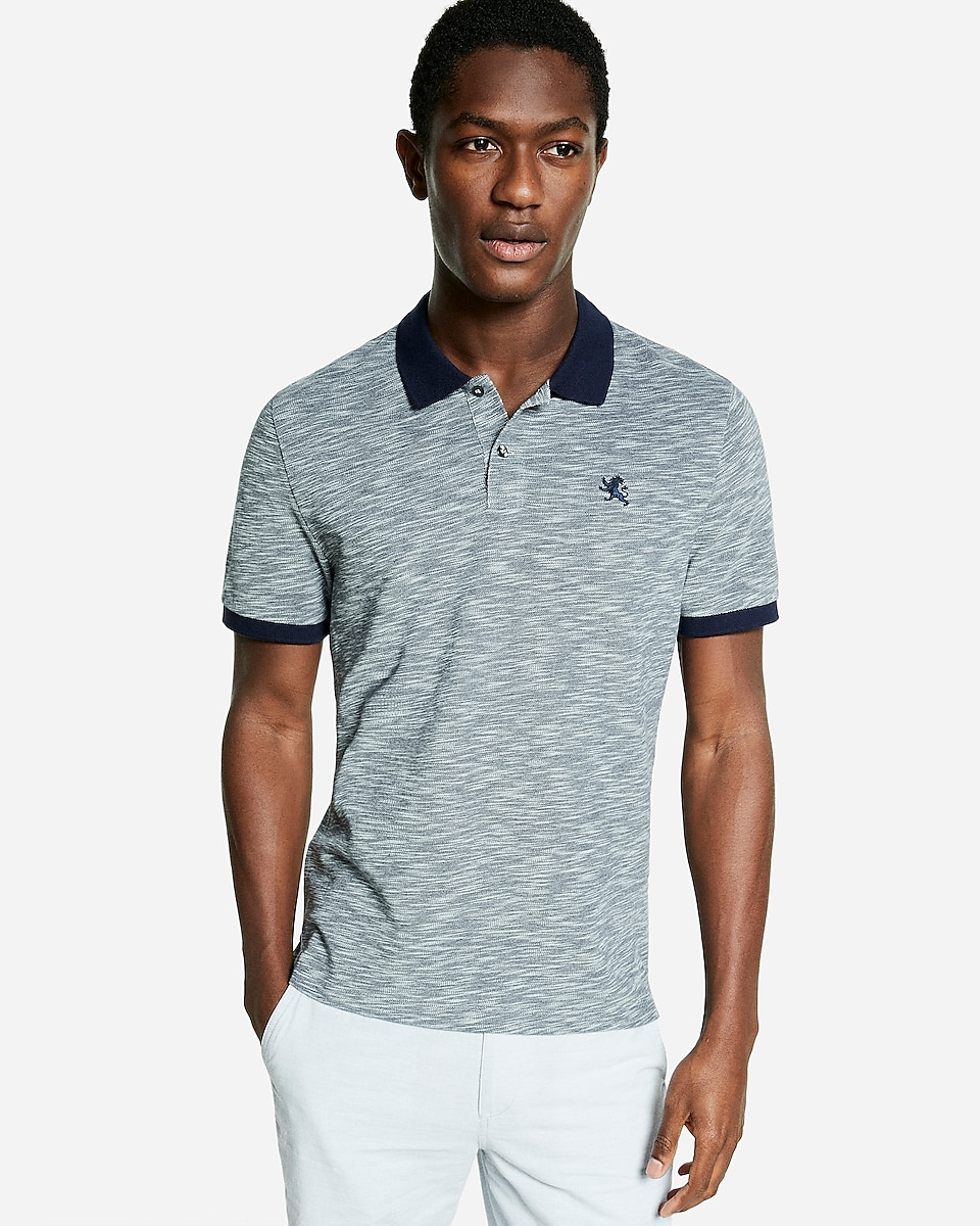 4 Express Mens Textured Small Lion Pique Polo (Multi Colors)