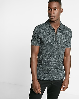 mens polo outlet riqc  marled jersey zip front polo