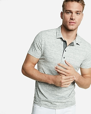 Express View � marled moisture-wicking stretch polo