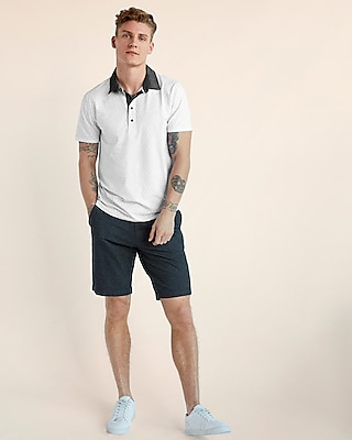 Express View · dot print moisture-wicking stretch polo