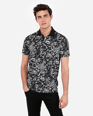paisley print moisture-wicking performance stretch polo
