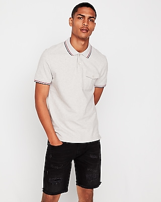 Express View · military tipped stretch pique polo