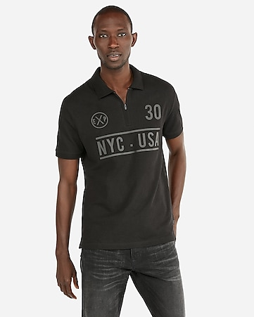 Express View · raised graphic zip front stretch polo c5c9e10cb9059