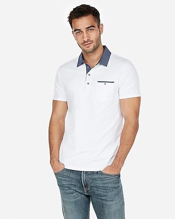 f983ca71 Express View · woven collar performance polo