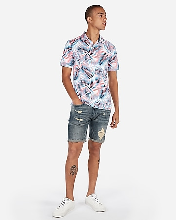 541a5670 Express View · signature moisture-wicking tropical palm printed polo