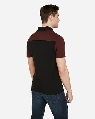 f1bc696f59d Express View · color block stripe moisture-wicking polo