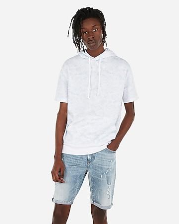 1a58f5488d slim 9 inch medium wash distressed stretch denim shorts.  35.94 marked down  from  59.90.  59.90  35.94. ocean print drop shoulder short sleeve hoodie