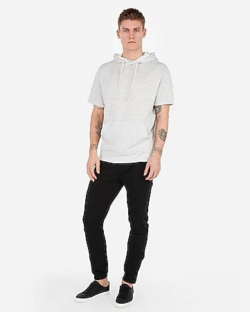 Express View · EXP weekend heather short sleeve popover hoodie 0e3f7447e