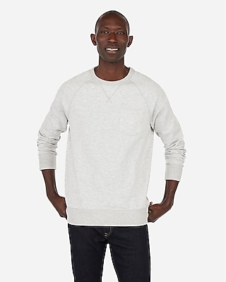 Raglan Pocket Crew Neck Fleece Sweatshirt by Express