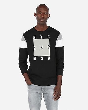 e03cc71ae4d EXP nyc color block sleeve fleece crew neck sweatshirt