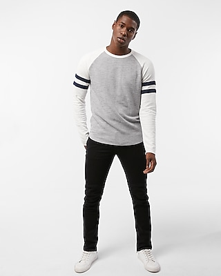 Striped Long Sleeve Waffle Baseball Tee by Express