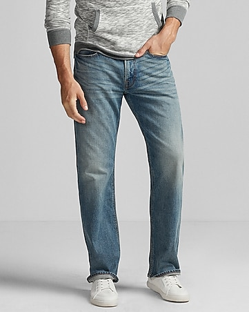 loose boot light wash stretch jeans