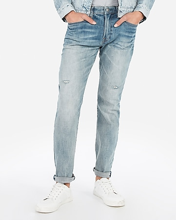 03ac25f3088d Express View · classic straight light wash hyper stretch jeans