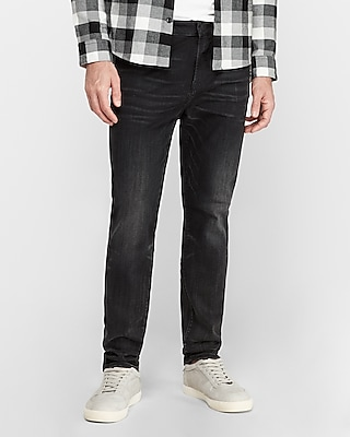 express athletic tapered slim black hyper stretch jeans