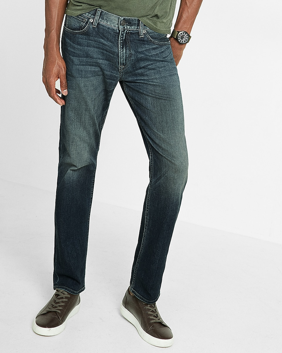 Slim Straight Dark Wash Eco-friendly 365 Comfort Stretch+ Jeans | Express