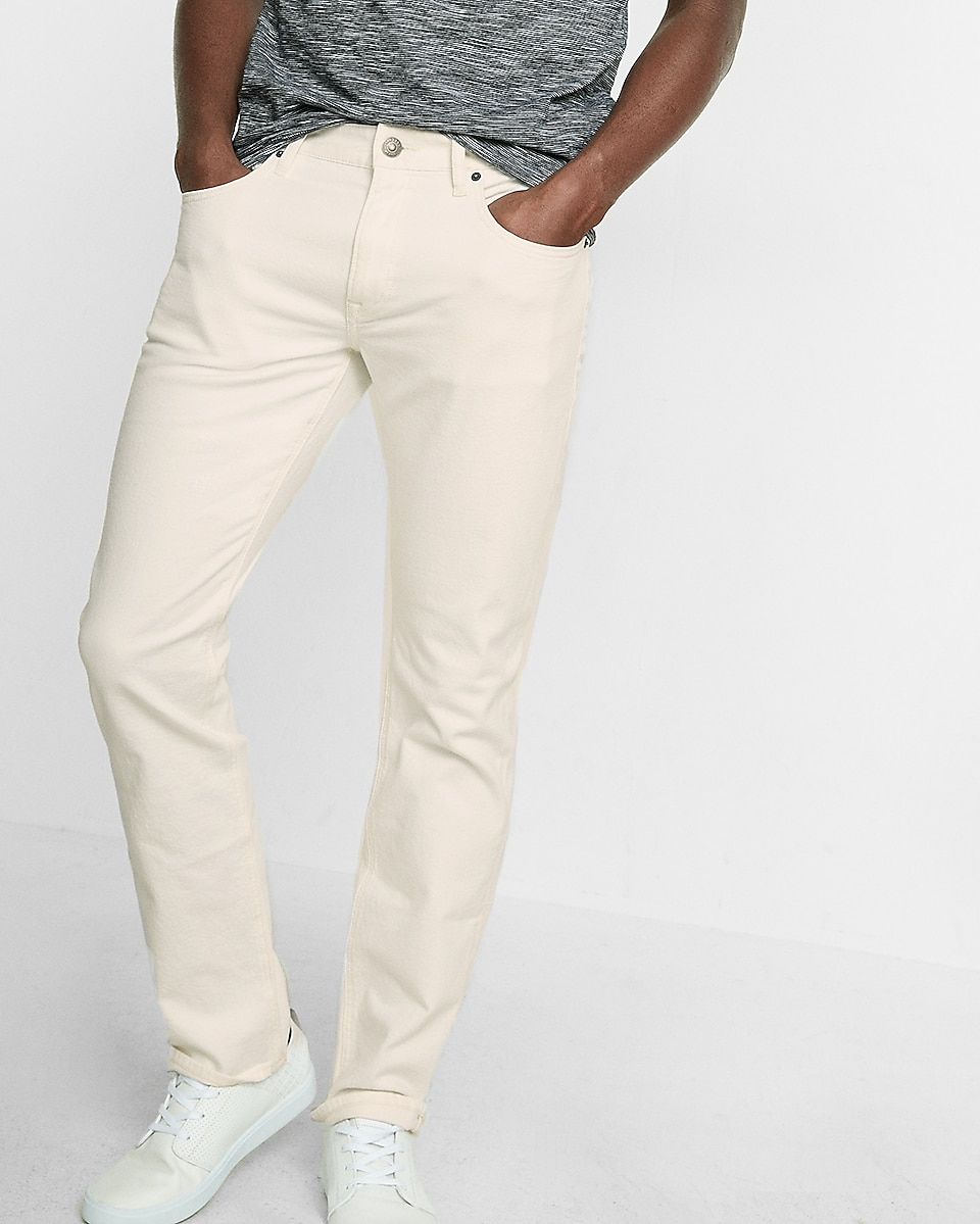 slim fit slim leg white flex stretch jeans