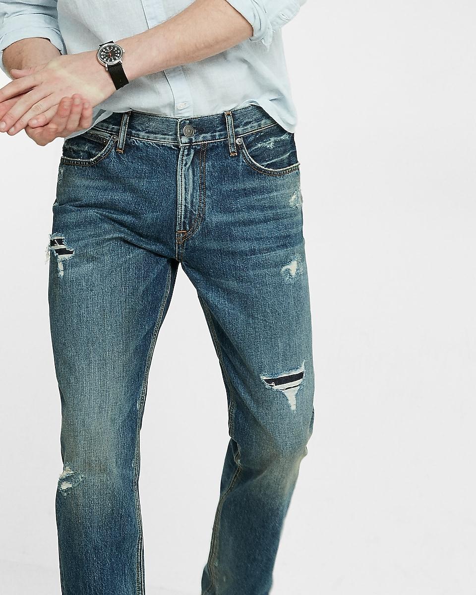 - Slim Straight Dark Wash Ripped Original Jeans Express