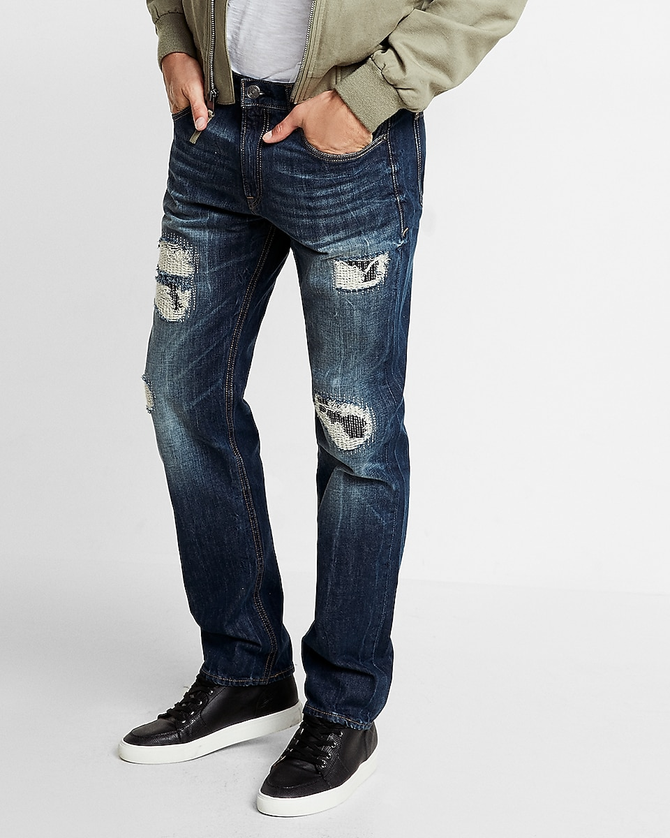 Slim Straight Destroyed Jeans | Express