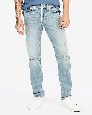 Slim Light Wash Distressed Stretch Jeans by Express