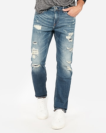 Express View · slim straight destroyed medium wash stretch jeans e2dc112b70ea